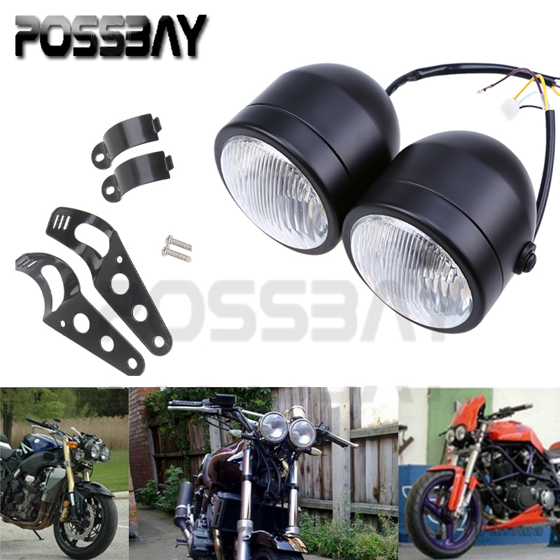 Motorcycle Headlights Motocicleta Dominator Headlamp Amber Mount Brackets Streetfighter  ...