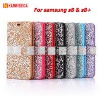 Diamond Flip PU Leather Case For Samsung Galaxy S8 Funda Hoesje Bling Rhinestone Wallet Cover S8