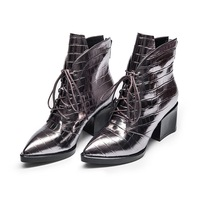 Women S Sexy Short Boots Cow Leather Silver Black Color Pointed Toe Leather High Heels Lace