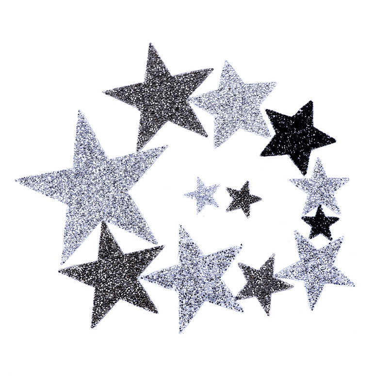 High Quality Crystal Rhinestone 3D Star Appliques Badge Stripes Diamond Pentagram Stickers Patches for Clothing Iron on Clothes