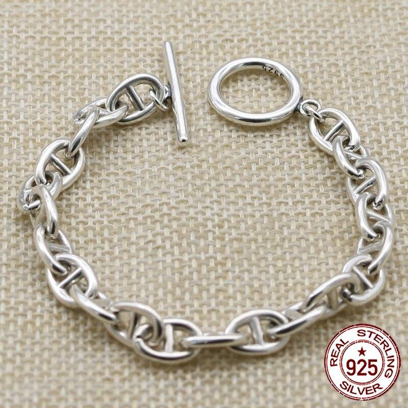 100% S925 bracelet en argent sterling personnalité mode classique punk jeunesse bijoux forme pour envoyer des cadeaux pour les amoureux 2019 chaud