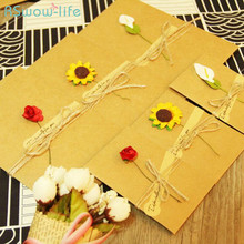Creative DIY Retro Kraft Handmade Flower Greeting Card Lovers Teachers Day Blessing Festival Party Supplies
