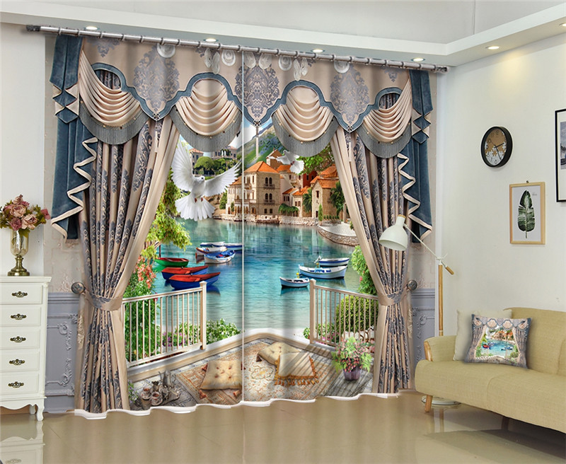 office window curtains official window 3d windows curtains european style luxury blackout living room office bedroom cortina drapes rideaux customized size custom size blue beach sea window for
