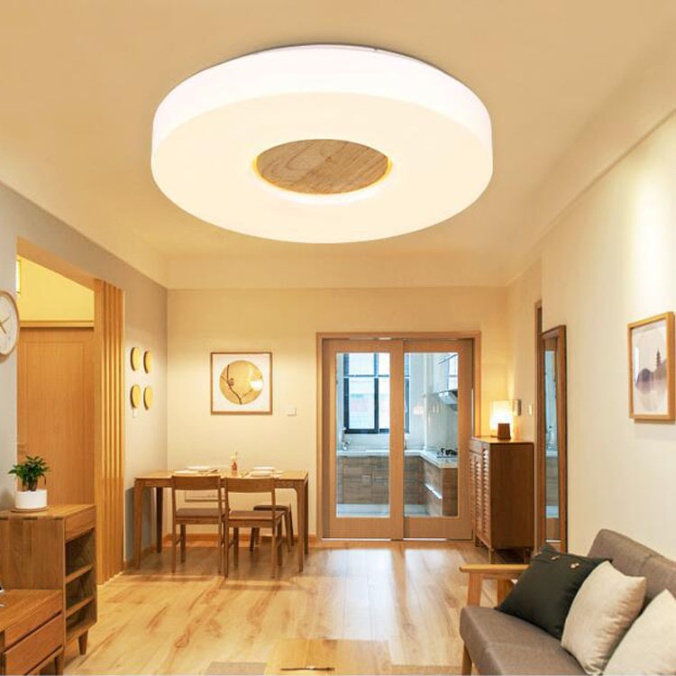 Personality fashion wood+acryl ceiling lamps Simple Round LED ceiling lights living room bedroom corridor study lighting FG140 led circular ceiling lamps chinese real wood art acrylic modern minimalist bedroom study decorated living room ceiling lights za