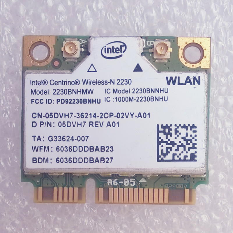 Intel Centrino Wireless-N 2230 Wireless-N + Bt4.0 WiFi Card 2230BNHMW,D P/N 05DVH7