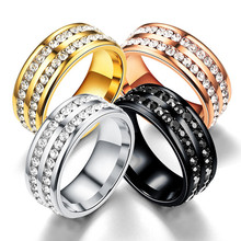 Womens Mens Wedding Band Engagement Ring Double Row Cubic Zirconia Stainless Steel New Fashion