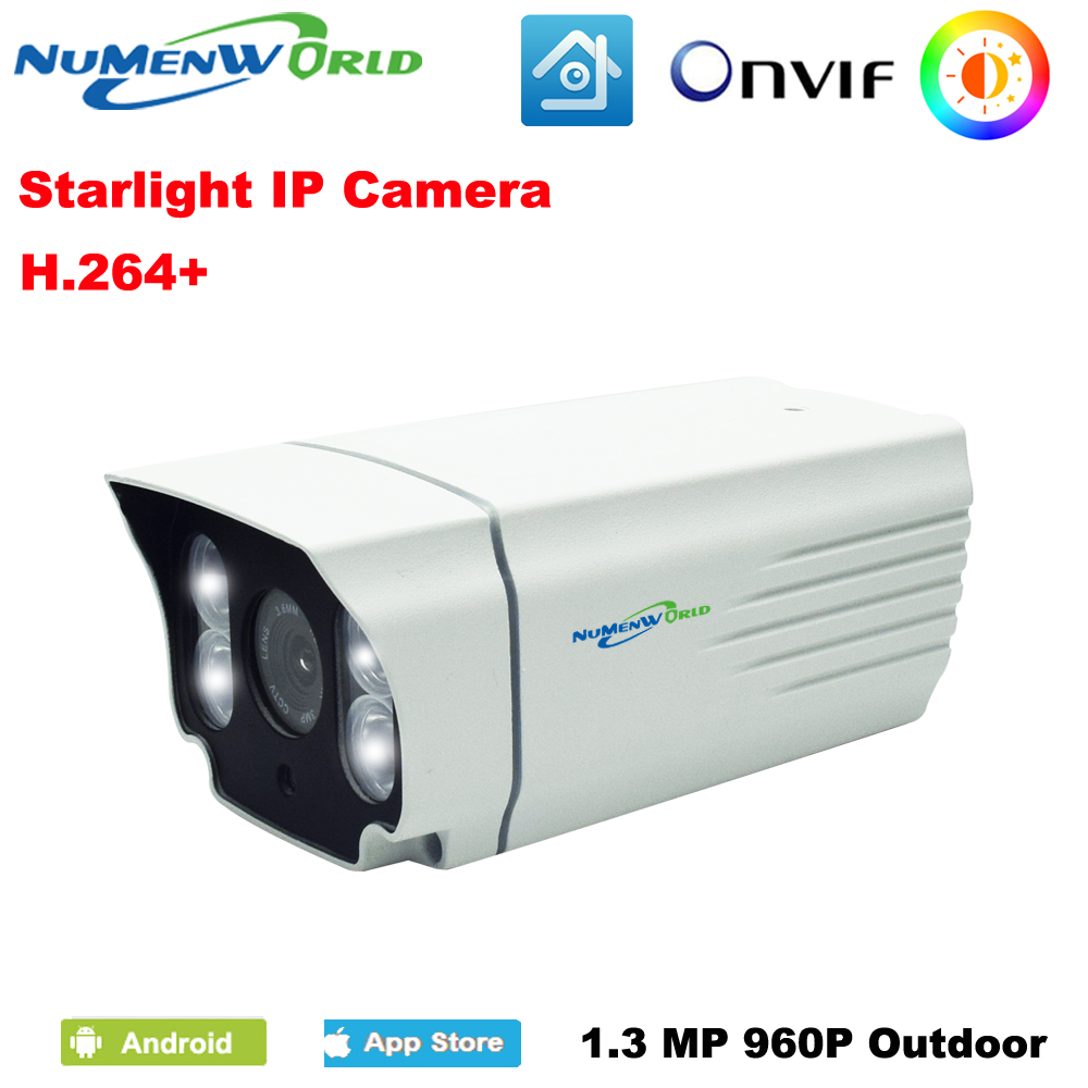 Starlight IP Camera 960P White High Efficiency LED Color Image Outdoor Full Color Plus Lighting CCTV security camera wistino cctv camera metal housing outdoor use waterproof bullet casing for ip camera hot sale white color cover case