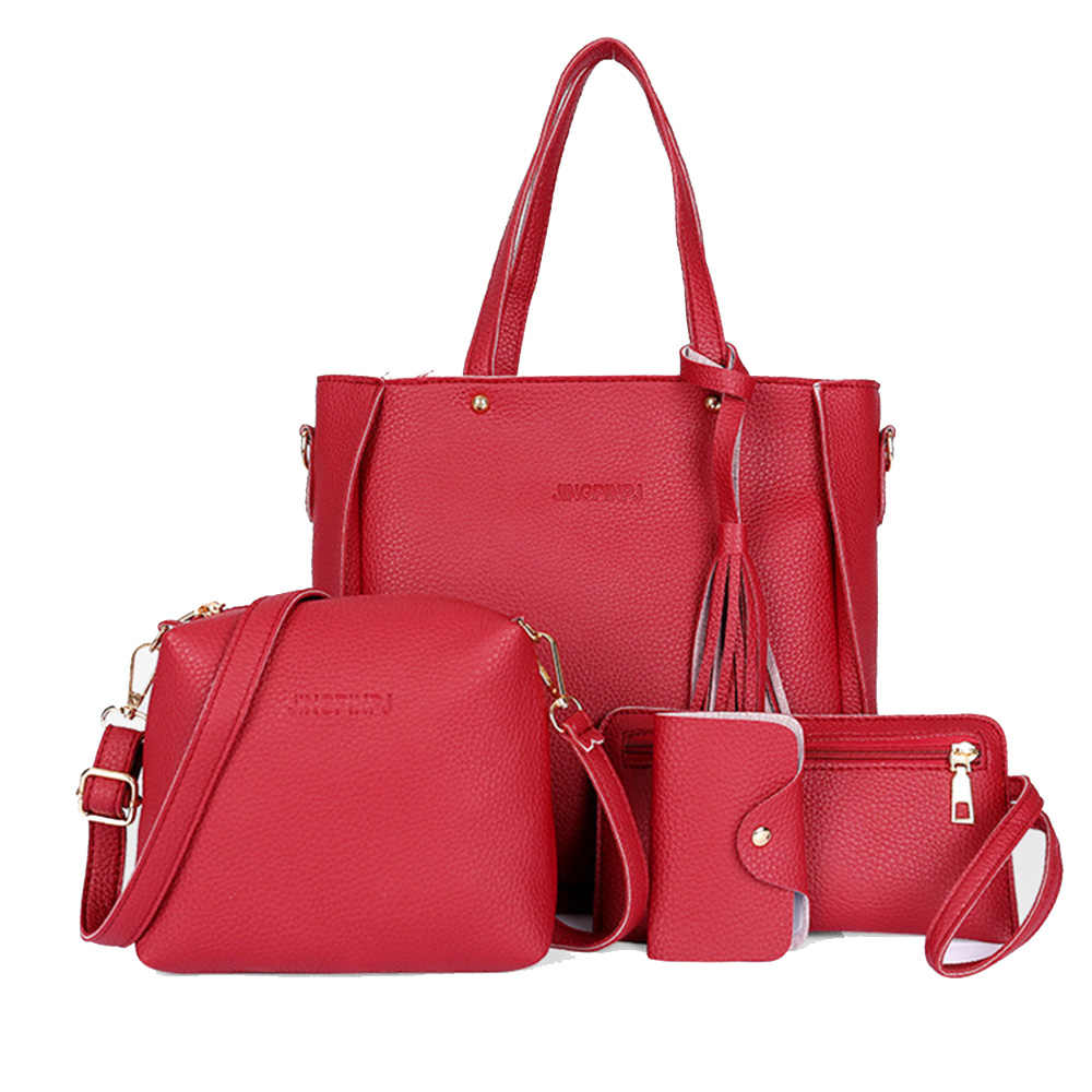 Sacos De mulheres de Grande Capacidade Saco de Cosmética Definir Borla Moda Bolsa de Ombro Bolsa Senhoras Sacos Crossbody Preto Vermelho 4 pçs/set