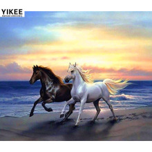 YIKEE diamond embroidery horses,5d diy diamond painting,animal,rhinestone painting two horses beach run a7045 finetime 5d horses