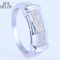 HELON Fashion Party Jewelry Mens Band Setting Sterling Silver 925 Pave Natural Diamonds Engagement Wedding Man Fine Ring