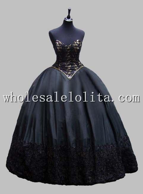 Готический черный и синий викторианский бальное платье период платье из двух частей - Цвет: Черный