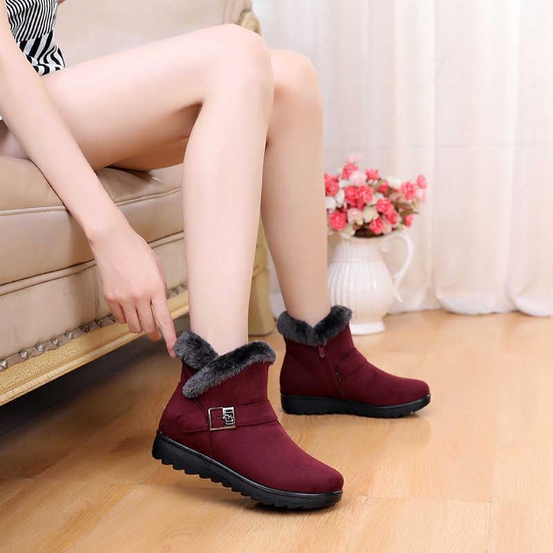 Kış kar botları boyutu 35-41 kadın yarım çizmeler yeni moda akın kama platformu kış sıcak kırmızı siyah kar botları kadın ayakkabısı