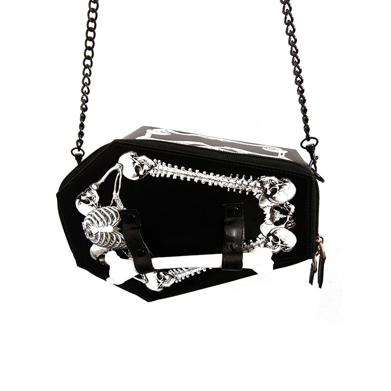Punk Shoulder Crazy Halloween Accessories Harajuku single shoulder bag Gothic soft girl punk coffin skull bats bag handbag