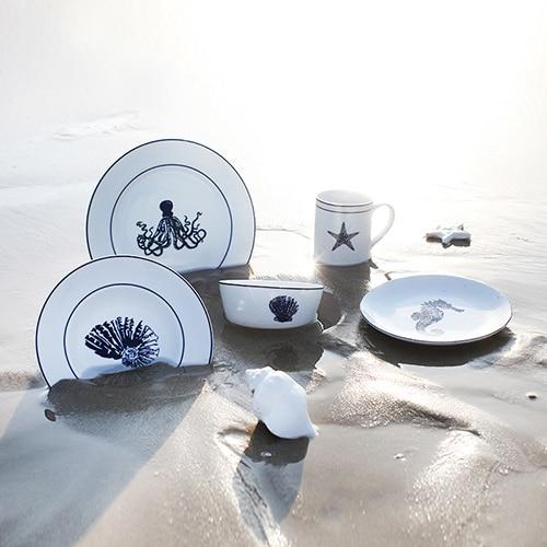 Creative Ocean Style Europe Brief ceramic dinnerware sets 5pcs wedding gift porcelain tableware soup plates/ & Creative Ocean Style Europe Brief ceramic dinnerware sets 5pcs ...