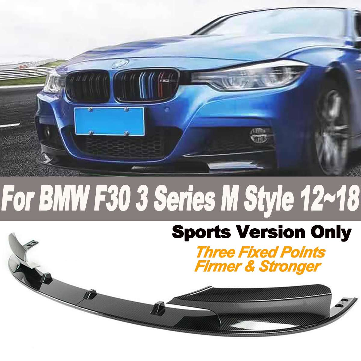 2pcs/set Front Bumper Lip Cover Carbon Fiber Surface for BMW F30 3 Series M Style 2012-2018 Only for Sports Version(China)