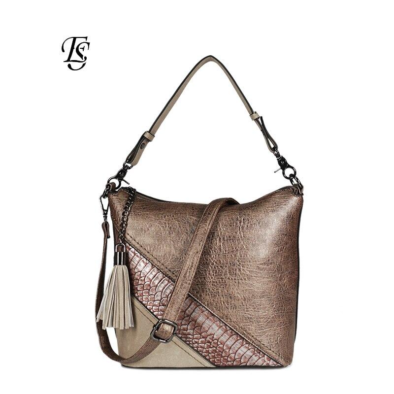 사문석 여성 숄더 가방 2018 새로운 도착 패션 pu spliced 어깨 가방 숙녀 캐주얼 핸드백 고품질-에서탑 핸드백부터 수화물 & 가방 의  그룹 1