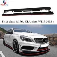 Для Mercedes W176 углерода волокно сбоку юбка сплиттер для класса A160 A180 A200 A250 A45 AMG и CLA 117 CLA180 CLA45 amпосылка