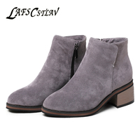 LAFS CSTLAV Suede Winter Autumn Ankle Boots For Women Chelsea Black Grey Brown Short Booties Zip