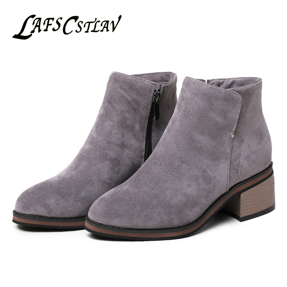 LAFS CSTLAV Suede Winter Autumn Ankle Boots for Women Chelsea Black Grey Brown Short Booties Zip Fashion Quality Boot Woman ...