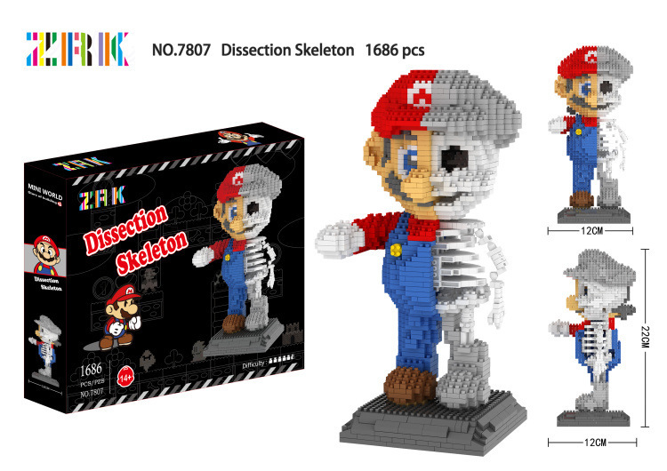 Friendly Zrk Skull Mario Mini Blocks Assembly Anime Model Brick Toys For Children Hallowmas Giftseducational Toy Skeleton Dissection 7807 Beautiful In Colour Blocks