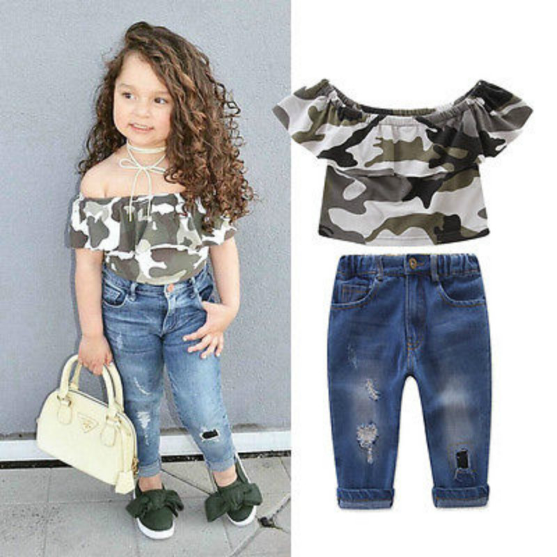 b9a0ec360a0 Cute Kids Girl T shirt Camo Off Shoulder Tops +Hole Jeans Leggings Outfits  Set Clothes Size 1 7Y-in Clothing Sets from Mother   Kids on Aliexpress.com  ...