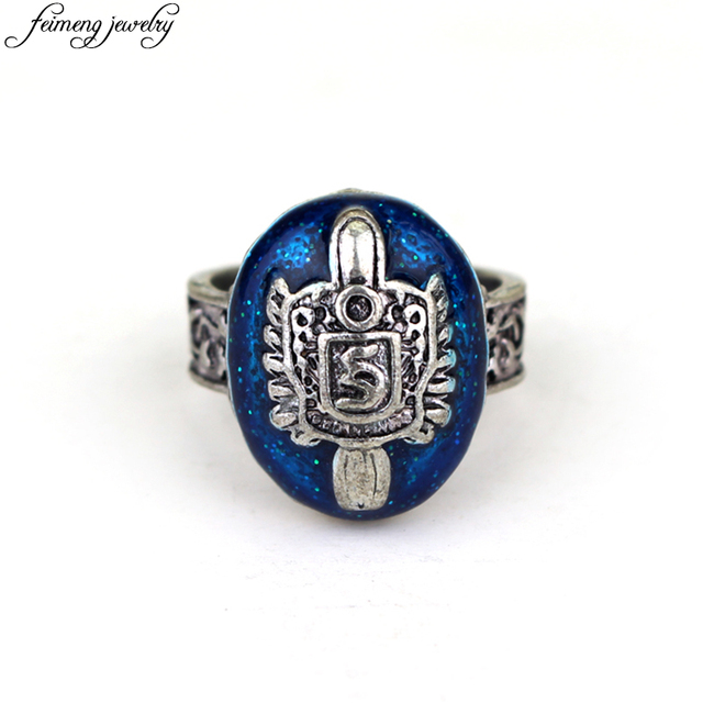 The Vampire Diaries Ring Salvatore Damon Stefan's Punk Rings Vintage Blue Zinc Alloy Ring Fashion Jewelry Accessories For Fans
