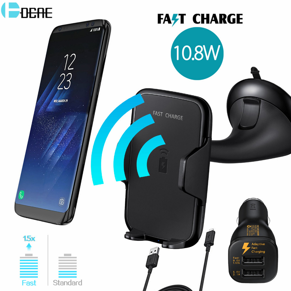 DCAE Multi-Funtion Qi Wireless Car Charger Phone Mount Holder Fast Charging For Samsung Galaxy S9 S8 S7 S6 For iPhone X 8 Plus