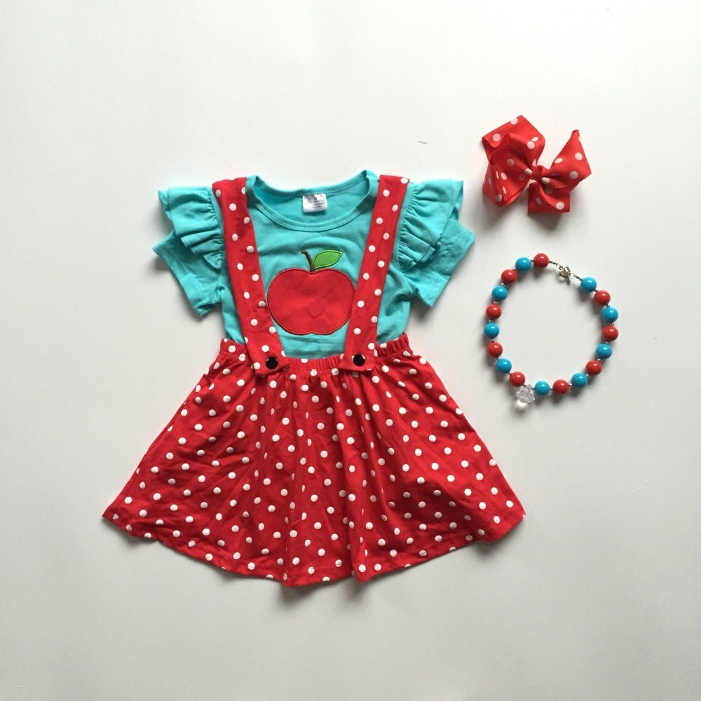 Red Dress With White Polka Dots For Girls
