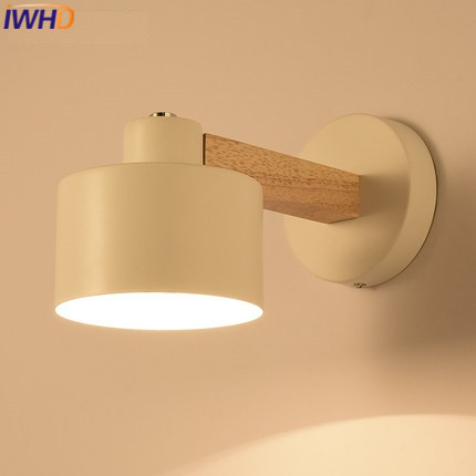 IWHD Wood Arm Sconce LED Wall Lamp Modern Iron Wall Light Fixtures Lighting Stairs Bedroom Lampara Dining AppLique Luminaire top grade wood handcrafted swing arm light sconce led wall lamp nordic style home decoration lighting e27 black with switch