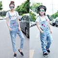 Matching Mother Daughter Clothes For 2016 Summer Autumn Clothing Girls pants And Denim cartoon ripped Overalls with hole