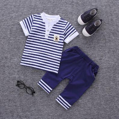 Baby Boy Clothes Summer 2017 Toddler Newborn Baby Boy Clothes Set Cotton Shirt Suit + Pants Set of 2 Childrens Clothing