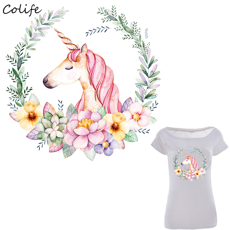 Home & Garden 2 Sizes Unicorn Washable Print On Sticker Patches Watercolor T-shirt Clothes Decoration Design Diy Accessory Iron-on Transfers
