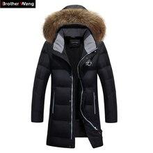 Brother Wang бренд 2019 Зима Новая мужская мода теплый длинный пуховик с капюшоном меховой воротник белый утиный пух пальто плюс размер 5XL 6XL