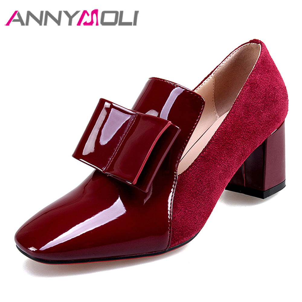ANNYMOLI Women Shoes High Heels Patent Leather Block High Heel Shoes Bow Square Toe Party Pumps