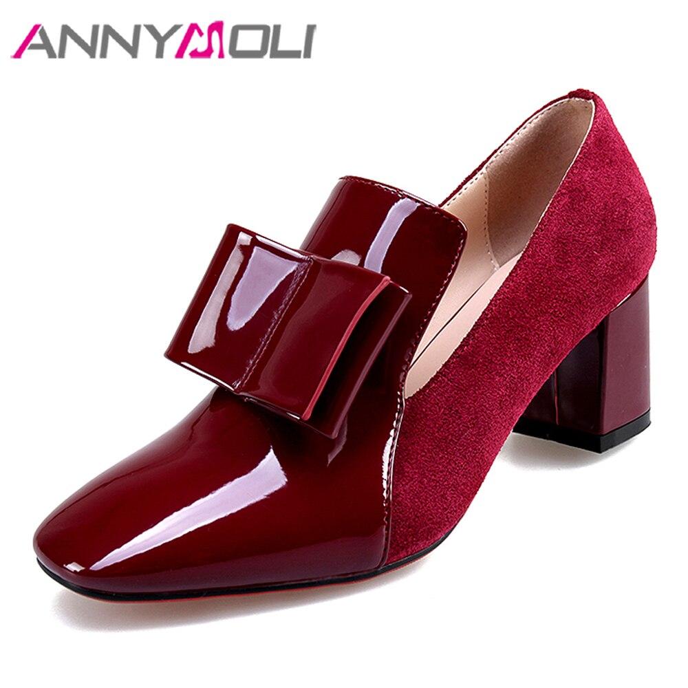 ANNYMOLI femmes chaussures talons hauts en cuir verni bloc chaussures à talons hauts arc bout carré parti pompes dame printemps rouge vert taille 34-39