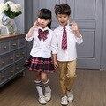 Sênior Júnior Escola primária Estudantes Uniformes Conjuntos de Roupas Meninos Adolescentes Meninas Outfits Manga Comprida Xadrez Treino 2-20Y