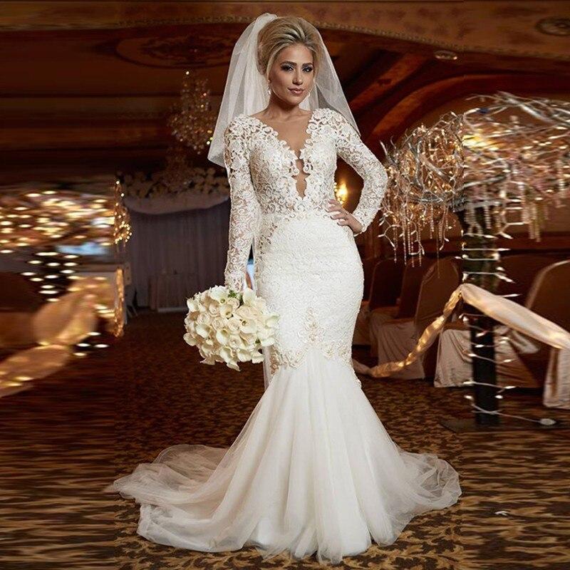 Buy sexy v neck long sleeve mermaid for Long sleeve mermaid wedding dresses 2017