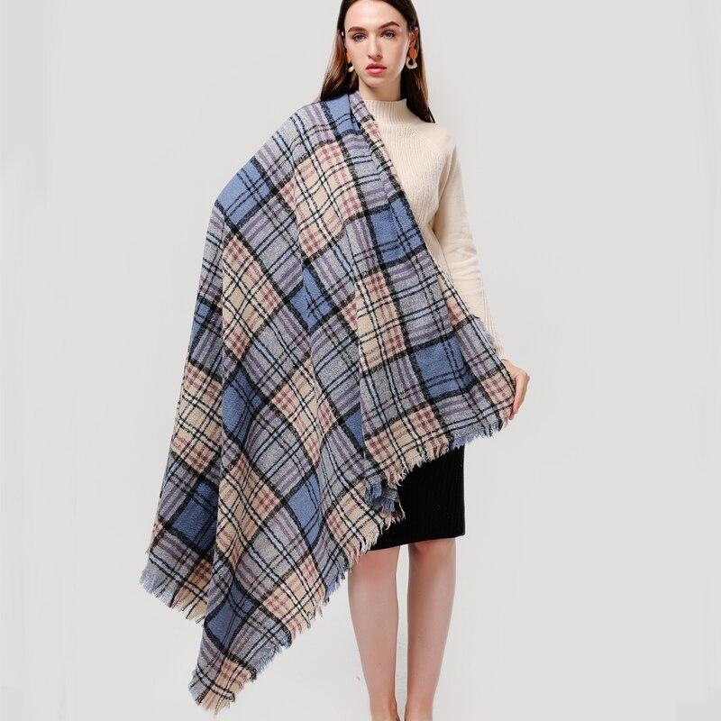 2020 Striped Women Scarf Winter Cashmere Scarves Square Shawls For Lady Wraps Knit Blanket Foulard Bandana Neck Warm Scarfs