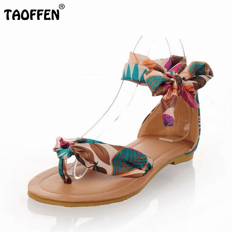 Shoes Women T-strap colorful Beach flat heel sandals shoes women Summer Sandals Ribbon Sweet Ladies Leisure size 34-43