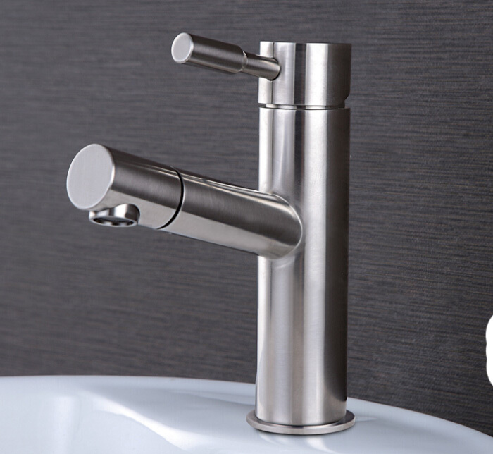 Free Shipping 304 stainless steel Pull Out bathroom brushed nickel basin Kitchen Sink Mixer Tap suitable Price Faucet BF088 okaros nickel brushed 304 stainless steel kitchen sink faucet deck mounted basin tap cold
