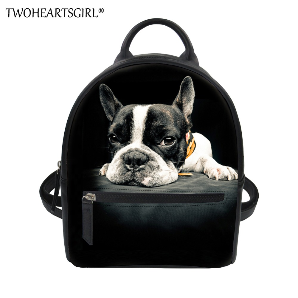 Womens Leather Backpack Cute Dog Shoulder Purse Travel School Lady Bag