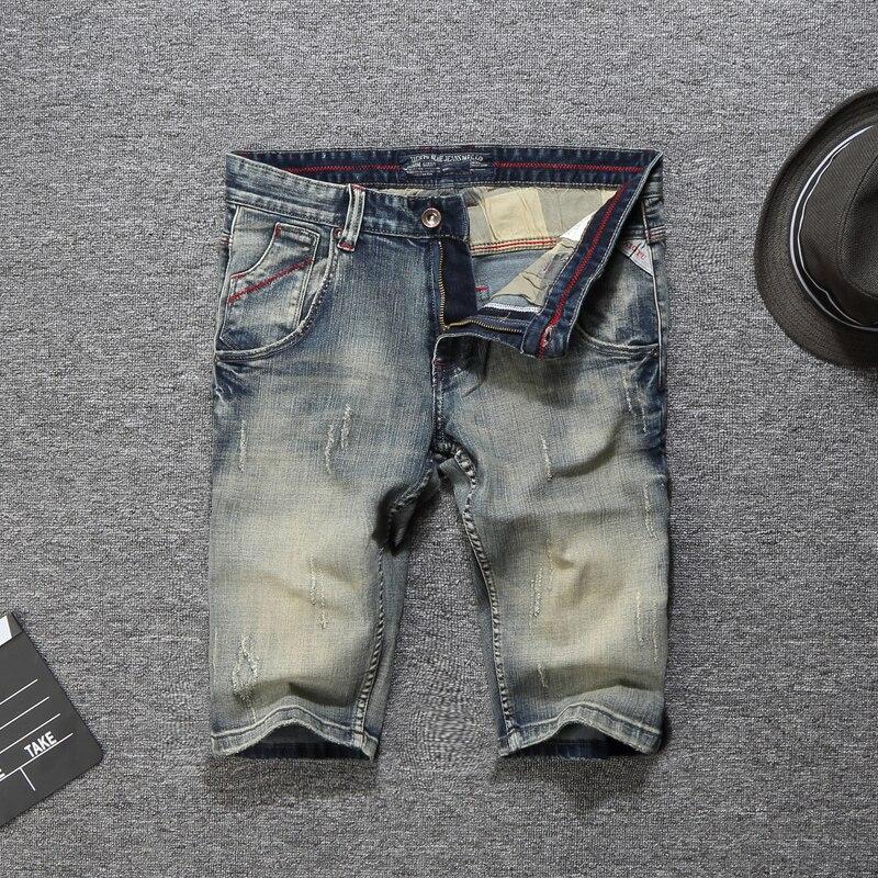 Italian Vintage Style Men Short Jeans Retro Wash Ripped Jeans Men Denim Shorts Summer Fashion Classical Jeans Shorts Hombre