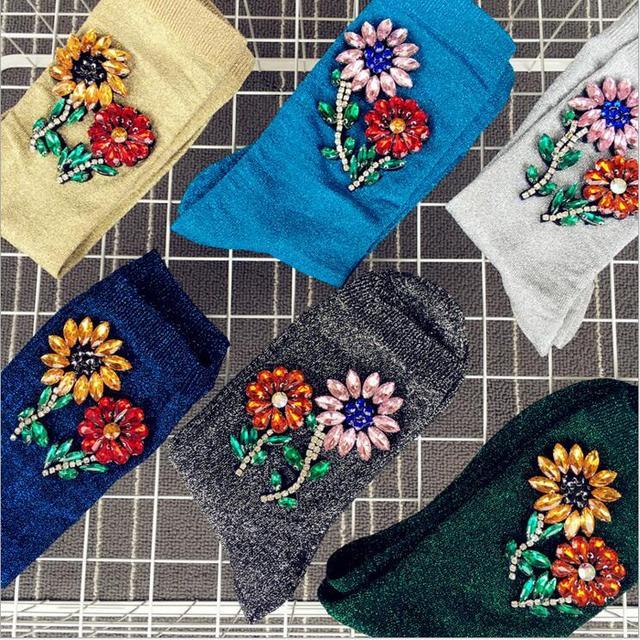 Новый Прибыл Корейский Стиль Моды Блеск Носки Женщины Зима жемчужина Цветок Gem Конфеты Цвет Ручной Работы Носки
