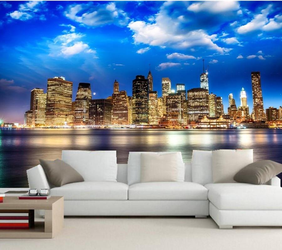 Custom Modern skyscrapers in New York wallpapers,living room sofa TV wall bedroom photo mural wallpaper papel de parede