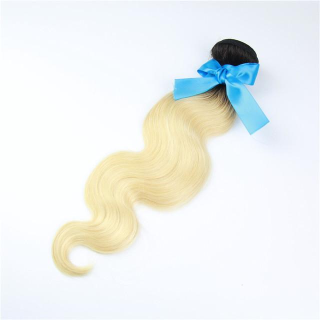 613 rubio pelo virginal 1 Bundles raíces oscuras rubia extensiones del pelo peruano virginal del cuerpo del pelo rubio onda 100% del pelo humano de la armadura