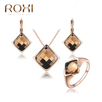 2015 New Jewelry Set Crystal Necklace Earrings Ring Rose Gold Jewelry Vintage For Women Jewelry Set