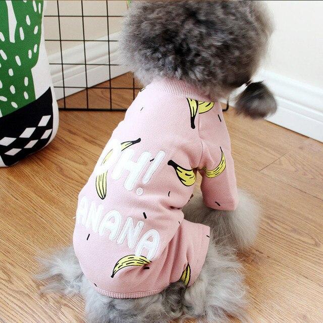 Cotone Pet Tuta Banana Gatto Vestiti Dell'animale Domestico Per I Cani Pigiama Autunno Inverno Animali Cani Abbigliamento S-3XL Vestiti Del Cane Per Il Cane chihuahua