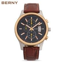 BERNY Sports Chronograph Men Wrist Watches Genuine Strap Watchband Luxury Military Males JAPAN Quartz Clock Relojes hombre 2816M
