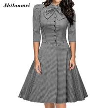 Tartan Party Women Dress 2016 European and American style Autumn Half Sleeves One piece Dress High