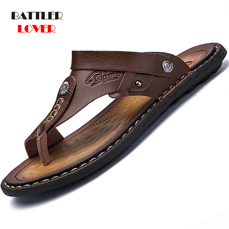Genuine Leather Shoes Men Fashion Men Flip Flops Trendy Anti-slip Cow Leather Men